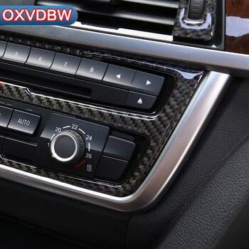 Fibra de carbono AC Controle CD Decoração Tampa Trim moldagem interior Estilo do carro Adesivo para BMW F34 F30 320i 3 series acessórios