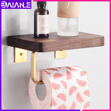Creative Toilet Paper Holder with shelf Brass Wooden Paper Towel Holder Wall Mounted Bathroom Tissue Roll Paper Holder Rack недорого