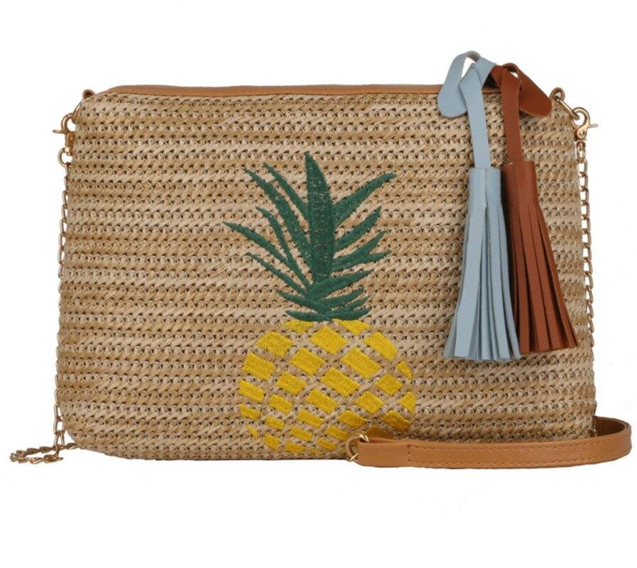 Women Summer Beach Bags Handmade Woven Vacation Cross Bag Tassel Straw Handbag