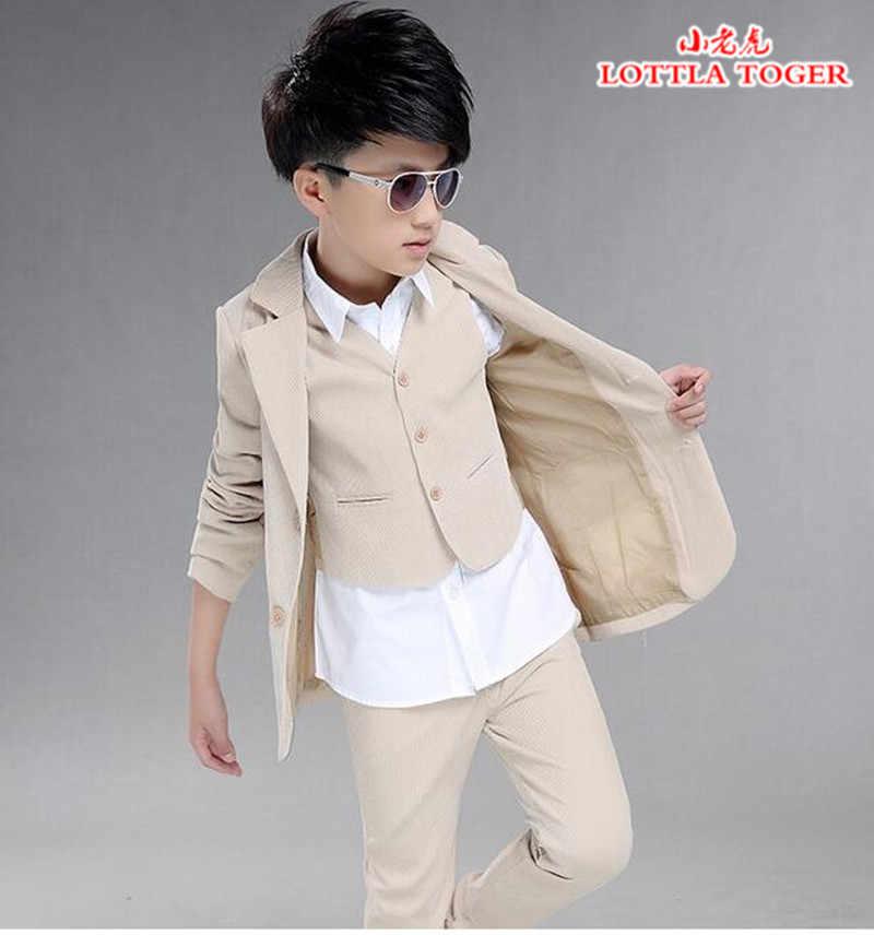 760b324aca90c Boys wedding suit Kids Tuxedos Page boy Outfits 3 pieces Autumn Clothing  sets Boys blazer suit