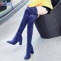 Lady Sexy Бедро Высокие Сапоги Эластичной Ткани Тонкий Ногу Колено Загрузки 8 см Коренастый Пятки Высокой Пятки Моды Осень-Зима сапоги