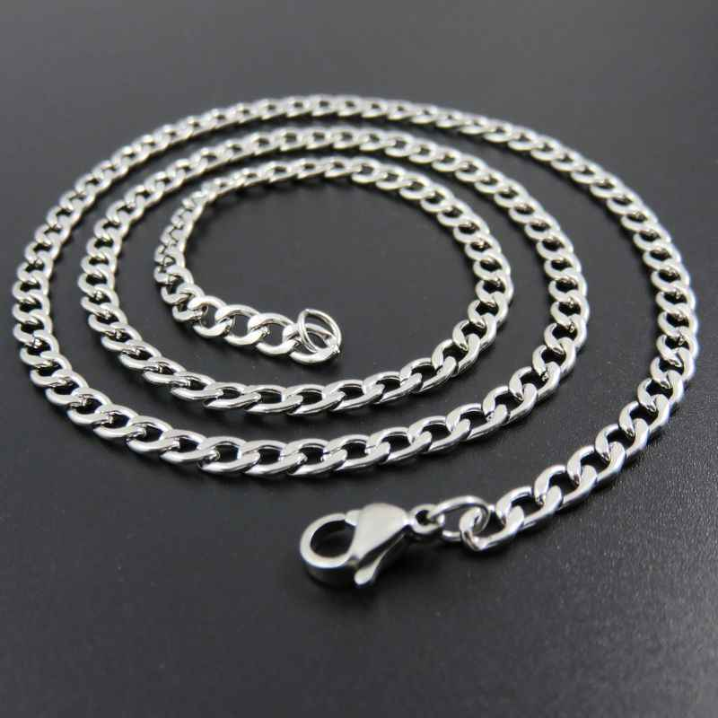 customizes 3/4/5/6/7mm Silver Tone 316L Stainless Steel Curban Chain Necklace For Man And Women, Fashion Christmas Gift Jewelry