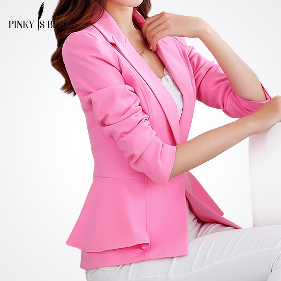 2016 spring new blazer women jacket ruffle female candy color slim long-sleeve short women suit jacket outerwear OL lady blazer