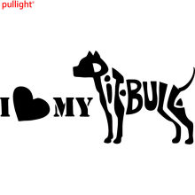 I love my Pit Bull Silhouette Car Decal Vinyl Sticker Pet Animal Letters Pitbull(China)