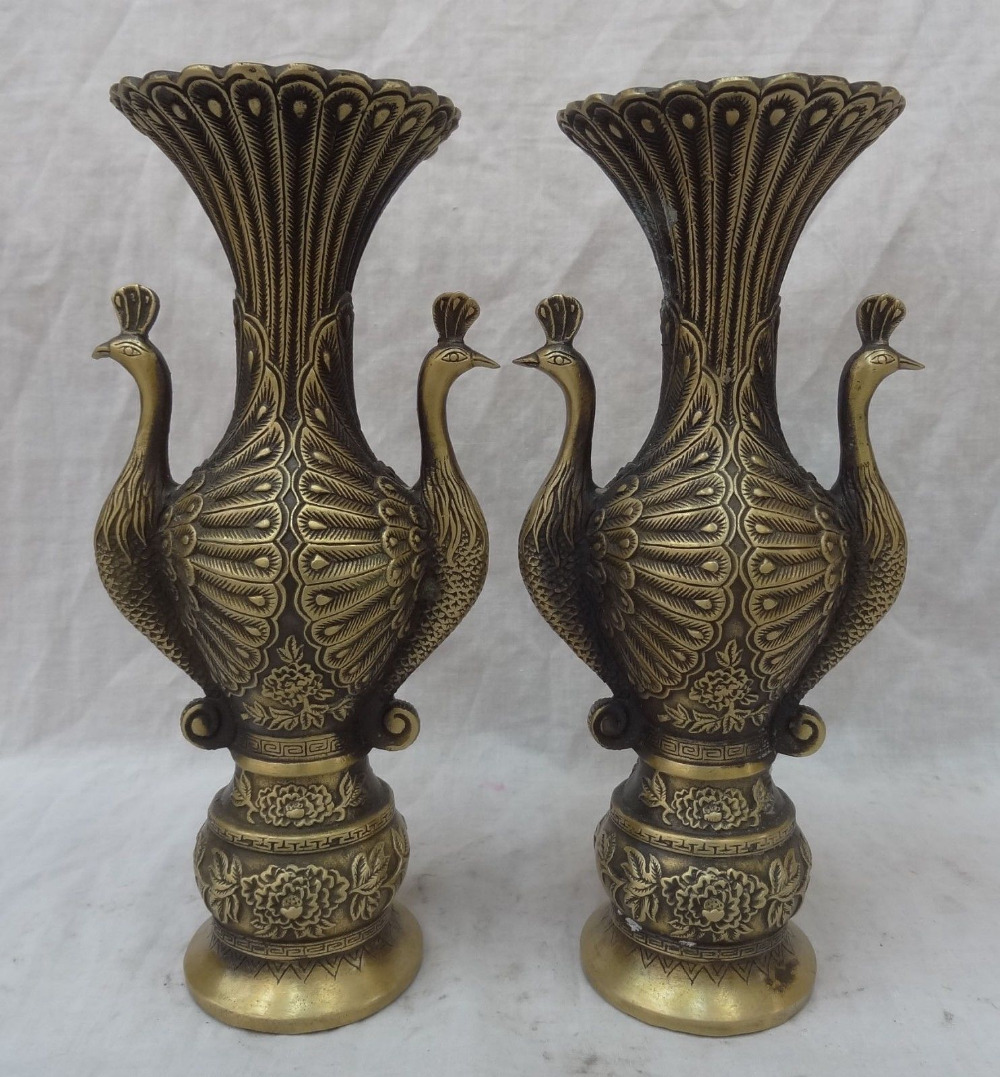 "huij 006778 10"" Chinese Bronze Bird Phoenix Peacock Head Statue Palace Flower Vase Pot Pair|pots vases|pot flower|pot head - title="