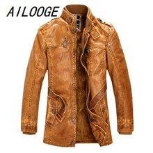 AILOOGE стоячий воротник высокого качества Мужская кожаная куртка Мытые Кожаные Мотоциклетные байкерские куртки