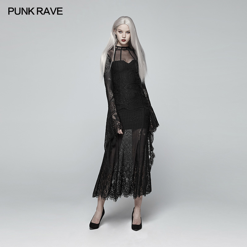 Punk Rave Women Dress Gothic Daily Wear Gorgeous Casual Black Fashion Hollow Out Sexy Lace Stage