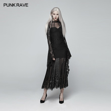 Punk Rave Women Dress Gothic Daily Wear Gorgeous Casual Black Fashion Hollow Out Sexy Lace Stage Performance