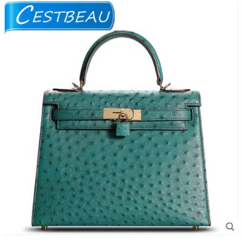 Cestbeau ostrich skin kylie bag for women studded with trendy leather single-shoulder tote bag for women with shoulder strapsCestbeau ostrich skin kylie bag for women studded with trendy leather single-shoulder tote bag for women with shoulder straps