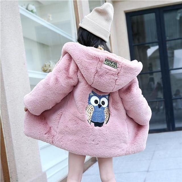 b5d697a41 LILIGIRL 2018 Winter New Baby Owl Cartoon Plush Long Jacket Coat for ...