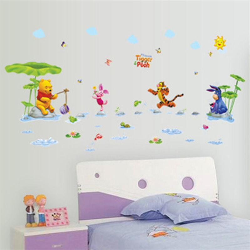 Animals zoo cartoon Winnie Pooh wall sticker for kids room-Free Shipping 3D Wall Stickers For Kids Rooms