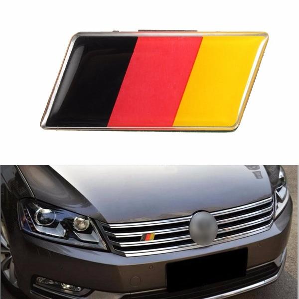 Universal German Flag Front Grille Bumper Car Sticker Emblem Badge for VW /Audi /Honda /Benz s line sline front grille emblem badge chromed plastic abs front grille mount for audi a1 a3 a4 a4l a5 a6l s3 s6 q5 q7 label