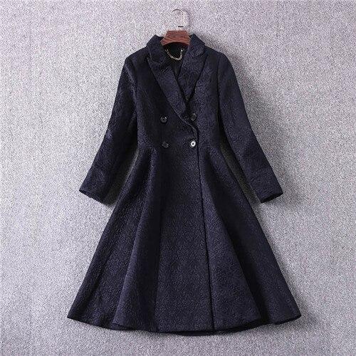 plus size winter outerwear women european runway luxury brand mid calf flare trench coats elegant black jacquard outer coat