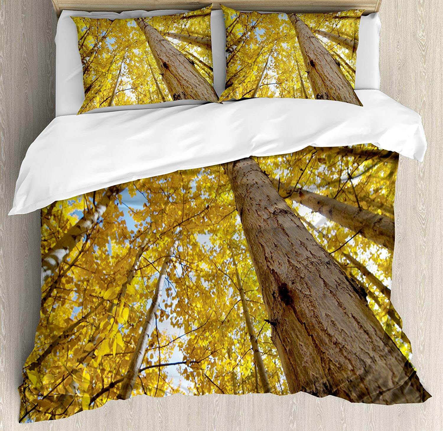 Forest Home Decor Duvet Cover Set Up View Of Fall Aspen