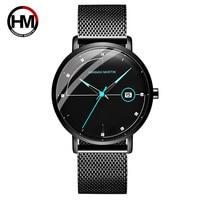 Hannah Martin Ultra Thin Watch Men Luxury Brand Men's Quartz Wristwatch Sport Waterproof Steel Mesh Strap relogio masculino Gift