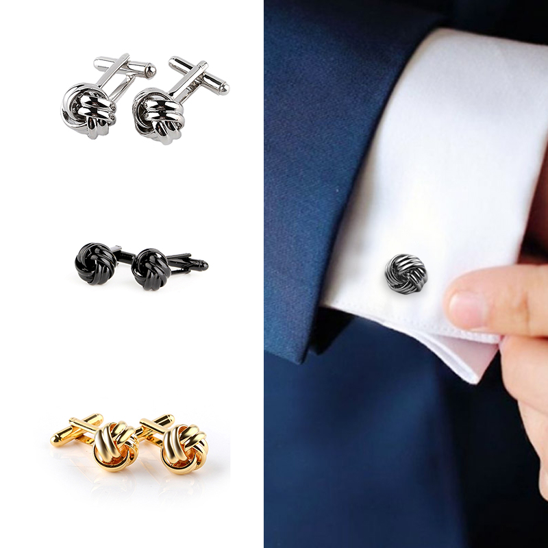 Men Cufflinks Knot-Design Silver Black Personalized Fashion Shirt Gold Male Party-Suit