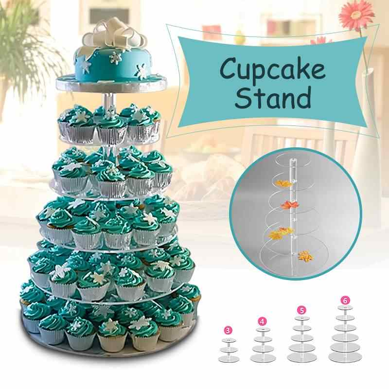 3/4/5/6 Tier Helder Wit Ronde Cup Cake Stand Acryl Cupcake Stand Levert Display Toren birthday Party Bruiloft Decoratie