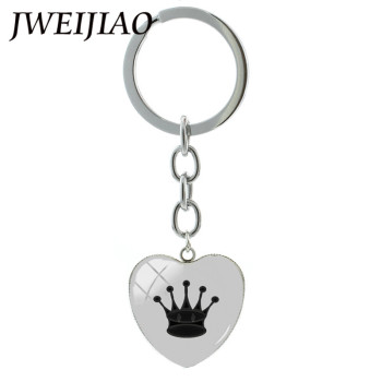 JWEIJIAO Heart Shape Chess Key Chain International Chess Pieces Queen,Knight,Rook,Bishop,Pawn Pendant Keyrings & Keychain CH09 image