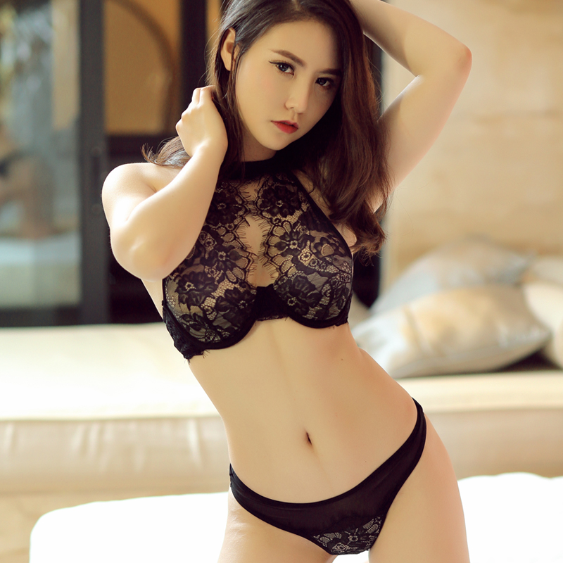Intimate Sexy Women Hollow Out Bra Strap High-Neck Halter Eyelash Lace Bra  Set Lingerie 0a86f1e0c