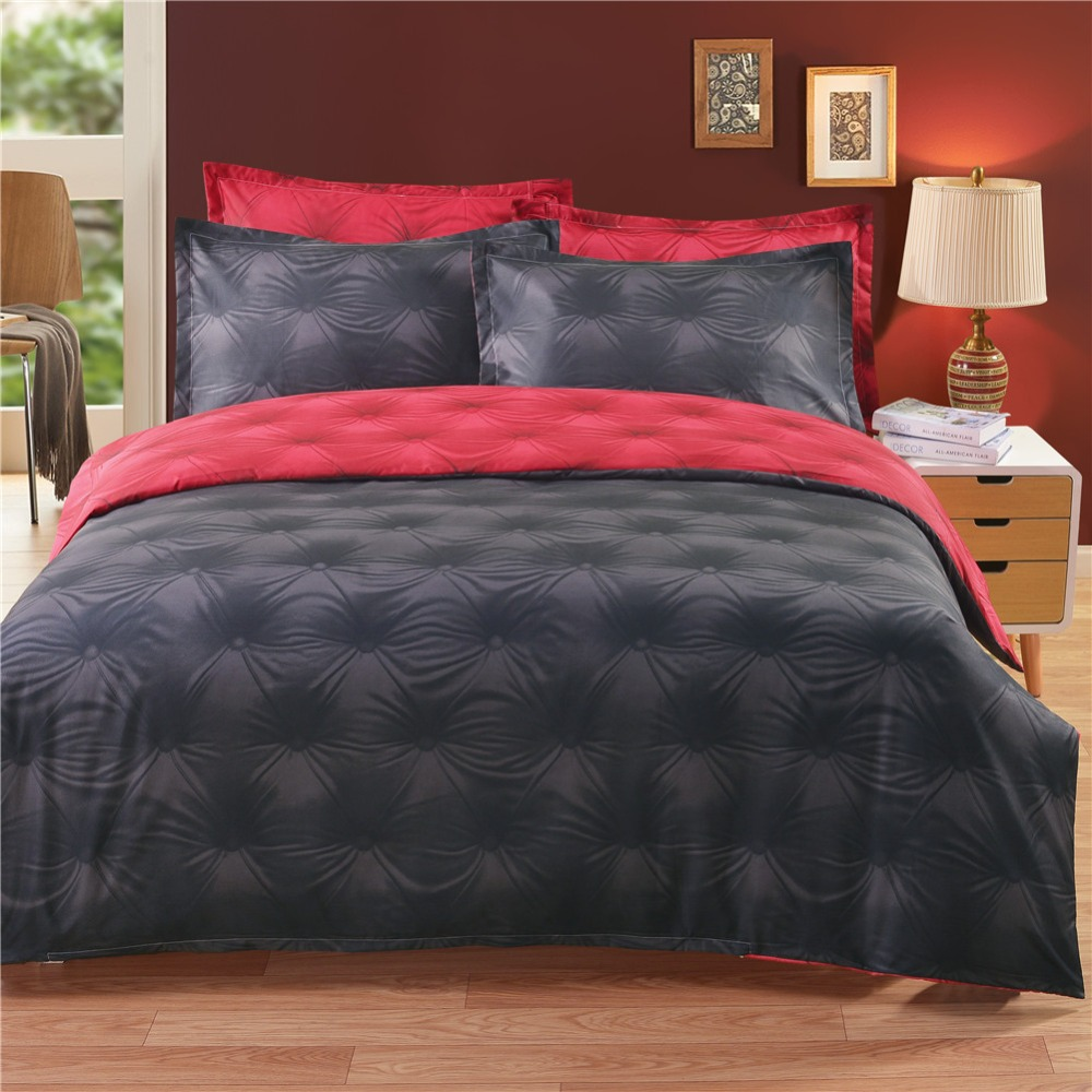 Black and red bed sheets - 3d Buttons Ab Side Black Red Bedding Set Tencel Cotton Duvet Cover Set Twin Queen King Single Double Europe Family Size Bed Line