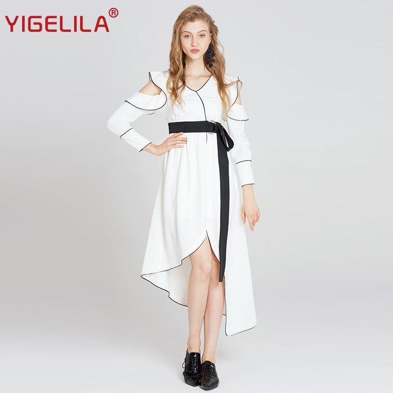 YIGELILA 2018 Women White Party Dress Fashion V-neck Full Sleeve Ruffles Empire Slim Mid Length Belt Asymmetrical Dress 63147