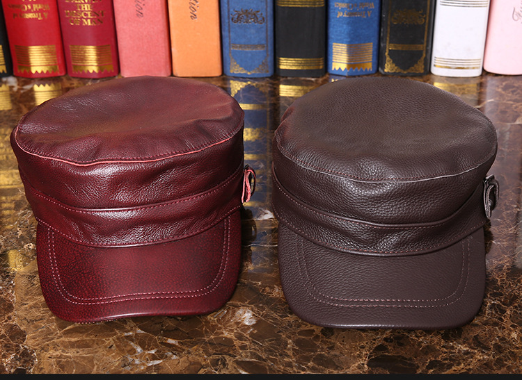 Outdoor natural leather cap (1)