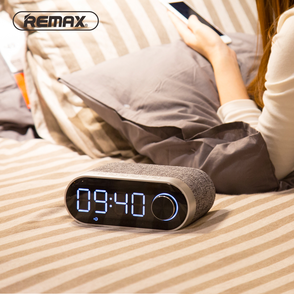 Remax RB-M26 FM Radio MultiFunctional Bluetooth Speakers Dual Alarm Clock Support TF Card USB Sound Card Player Portable Speaker