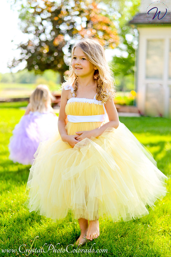 2017 yellow tutu tulle baby bridesmaid flower girl wedding dress fluffy ball gown USA birthday evening prom cloth party dress silver gray purple pink blue ball gown tutu soft tulle puffy flower girl dress baby 1 year birthday dress with spaghetti straps