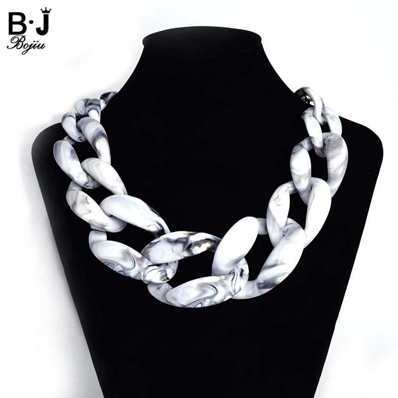 New Fashion China chokers necklaces gothic necklaces for women white black resin link chain necklace white gothic style black white lace flower wide choker necklace