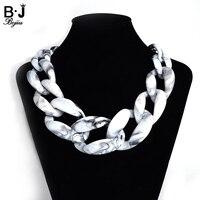 Nova Moda China resina gargantilhas colares colares góticas para as mulheres branco preto elo da cadeia colar