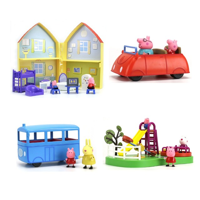 Genuine Peppa Pig... da Casa da Peppa Peppa vermelho carro Ônibus Escolar Playground Ferris Wheel trem das Peppa Geroge crianças Brinquedo de PRESENTE de aniversário