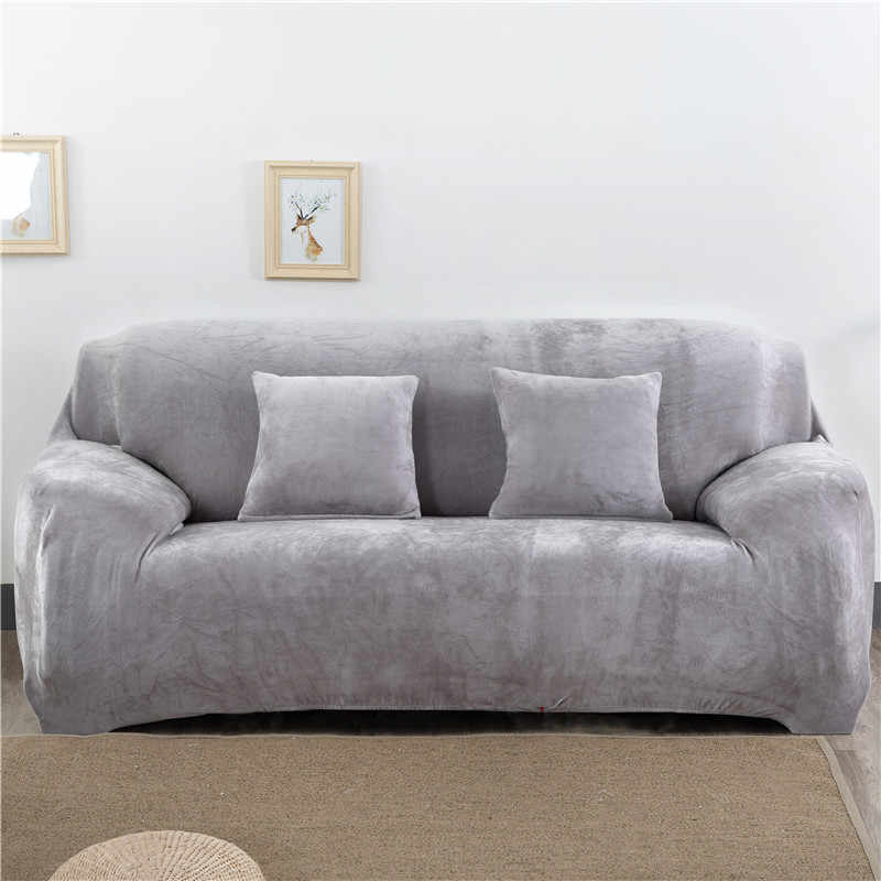 Effen Kleur Pluche Thicken Elastische Sofa Cover Universal Sectionele Hoes 1/2/3/4 Zits Stretch Couch Cover Voor woonkamer