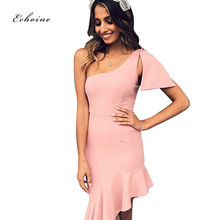 Echoine Women Party Dress Bow Oblique Collar Sexy One Shoulder Bodycon Irregular Ruffles Hemline Female Clothes Elegant Vestidos