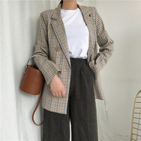 Vintage Double Breasted Plaid Blazer Lapel Women Blazers And Jackets Long Sleeve Coat Loose Ladies Outerwear