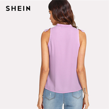 SHEIN Guipure Lace Applique Tied Neck Top 2018 Summer Purple Stand Collar Sleeveless Blouse Women Casual Solid Top