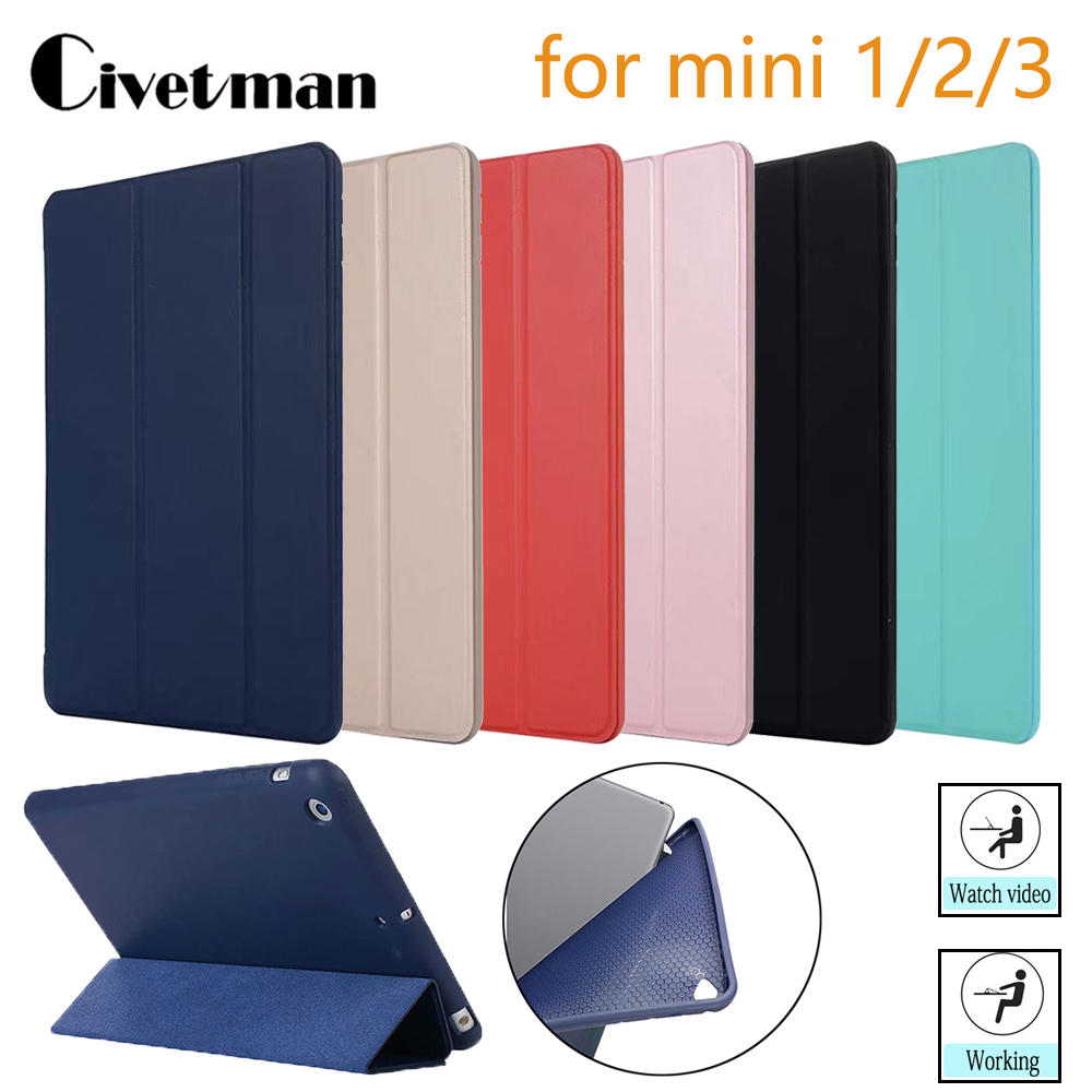 Case For IPad Mini 3 2 1 Case PU Leather Silicone Soft Back Cover With Trifold Stand Auto Sleep Smart Cover For IPad Mini2 Funda
