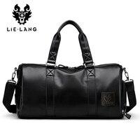 LIELANG Men S Black Handbag Travel Bag Waterproof Leather Large Capacity Travel Duffle Multifunction Tote Casual
