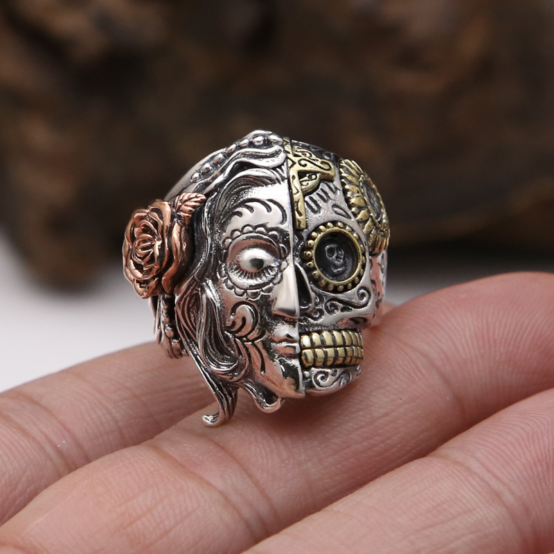 Pur 925 argent Sterling Double visage crâne avec fleur de Rose sculpture Vintage anneau de doigt Punk Rock Thai bijoux en argent