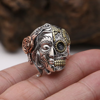 Pure 925 Sterling Silver Double Face Skull With Rose Flower Carving Vintage Finger Ring Punk Rock Thai Silver Jewelry