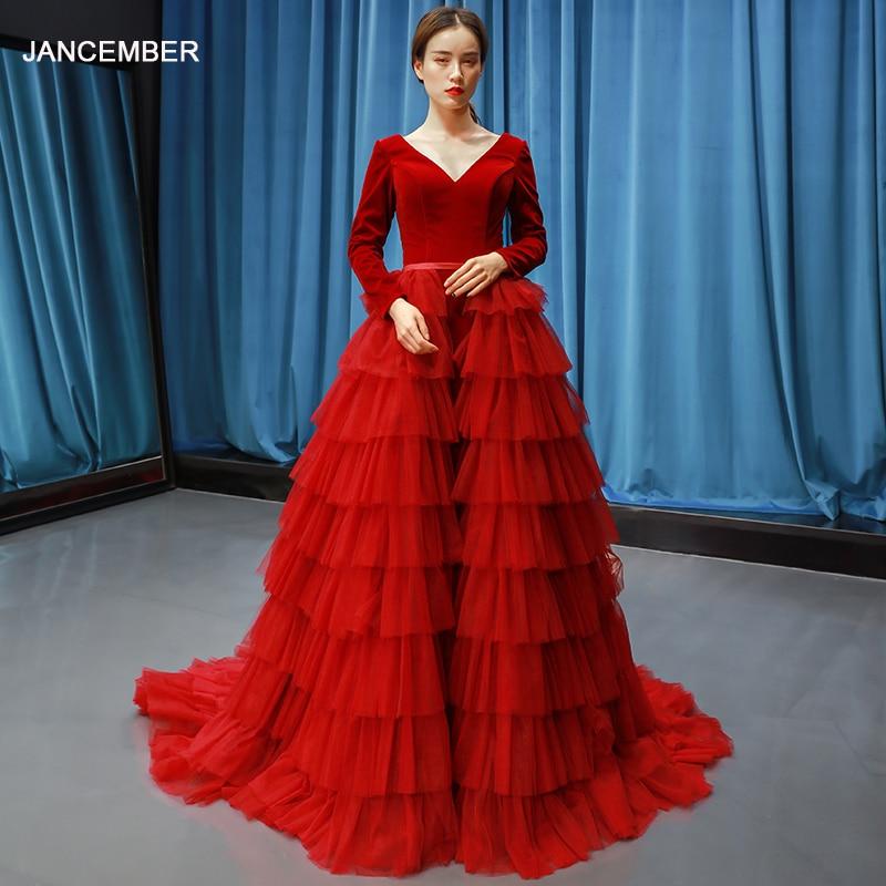 J66792 jancember red prom dress wedding party cake style A-line floor length long sleeve evening gown formal dress avondjurk