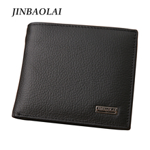 New 2016 euro genuine leather men wallets famous brand men wallet male black coin purse ID card dollar bill wallet