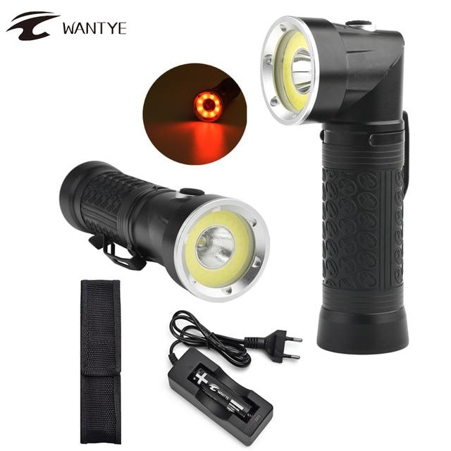 LED Flashlight 18650 T6+COB 90 Degree Fold Multifunction Torch Light Magnet X Jy