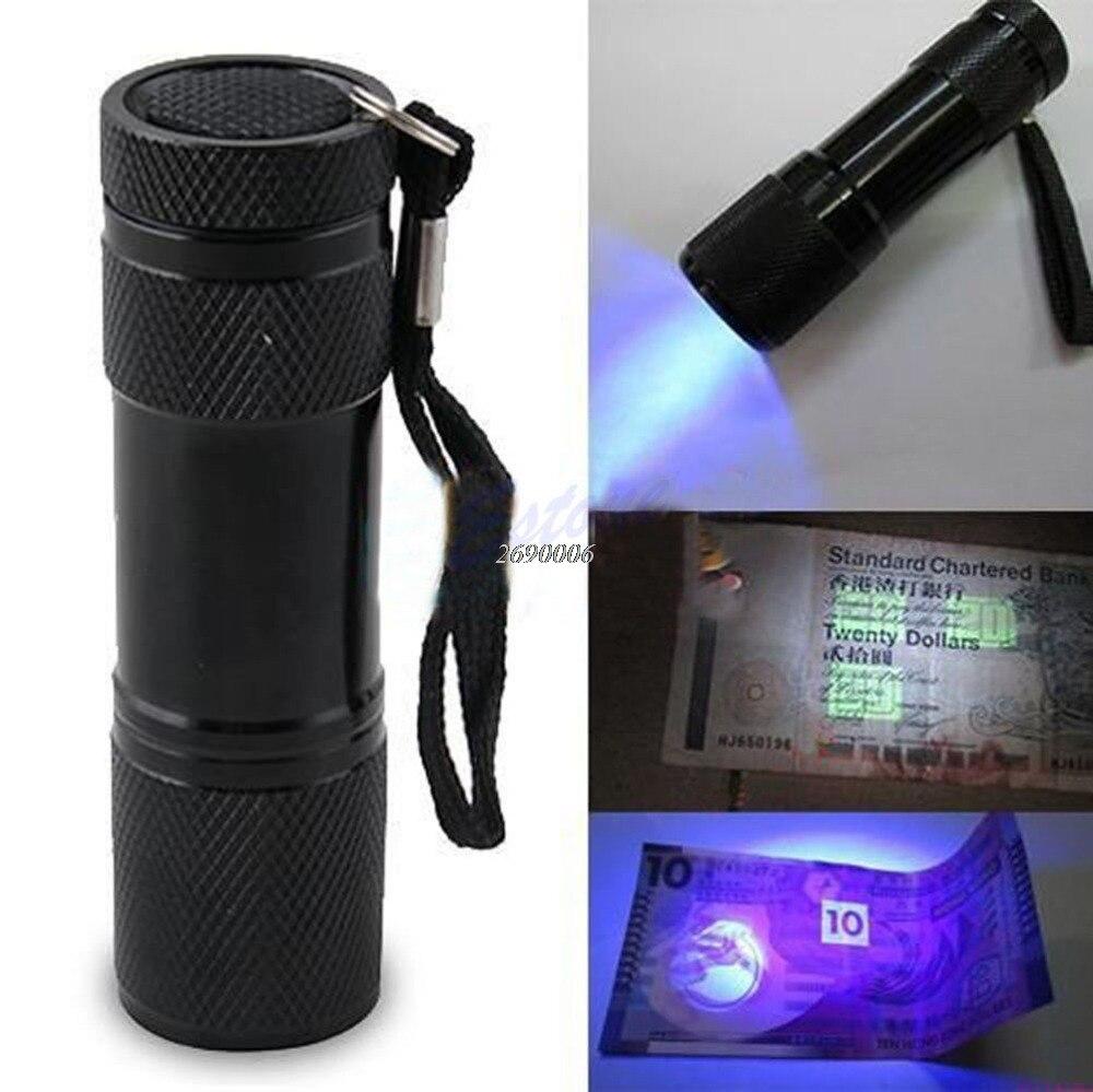 Бесплатная доставка Мини Портативный УФ ультрафиолетовый Blacklight 9 светодиодный фонарик свет лампы
