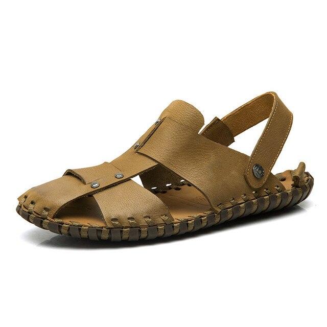 2016 Summer Sandals Men Shoes Fashion Fretwork Flat Shoes Man Sandals For Men Breathable Mens Slides 45