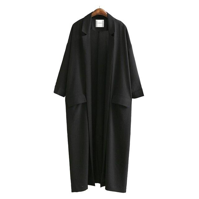[AZURE SHEN] Loose Women's Windbreaker 2018 Spring Casual Turn-down Collar Pockets Black Coat Jacket Female Outwear U370