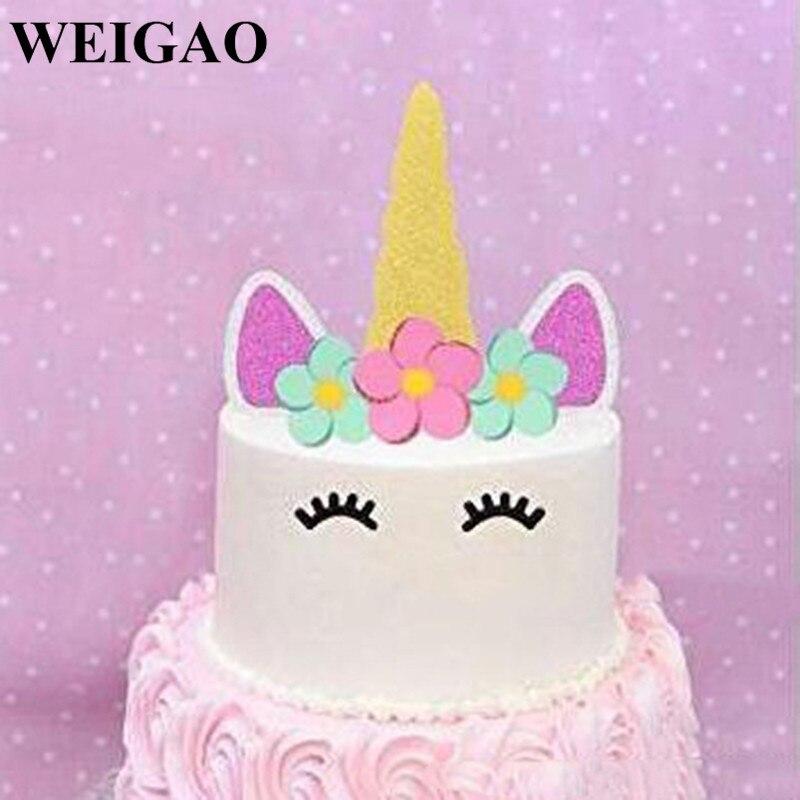 Aliexpress Com Buy Weigao Birthday Cake Toppers Rainbow Unicorn