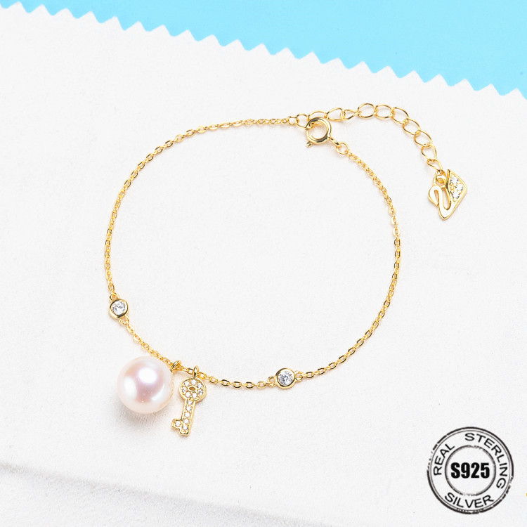 Natural Freshwater Round Pearl S925 Sterling Silver With 8mm Pearl Ankle Bracelet Jewelry Accessory Women DIY Bracelet Findings 8mm crystal translucent pearl bracelet