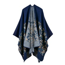 2019 winter poncho fashion women scarf oversize thick cashmere ponchos and caps knit Blanket female echarpe pashmina