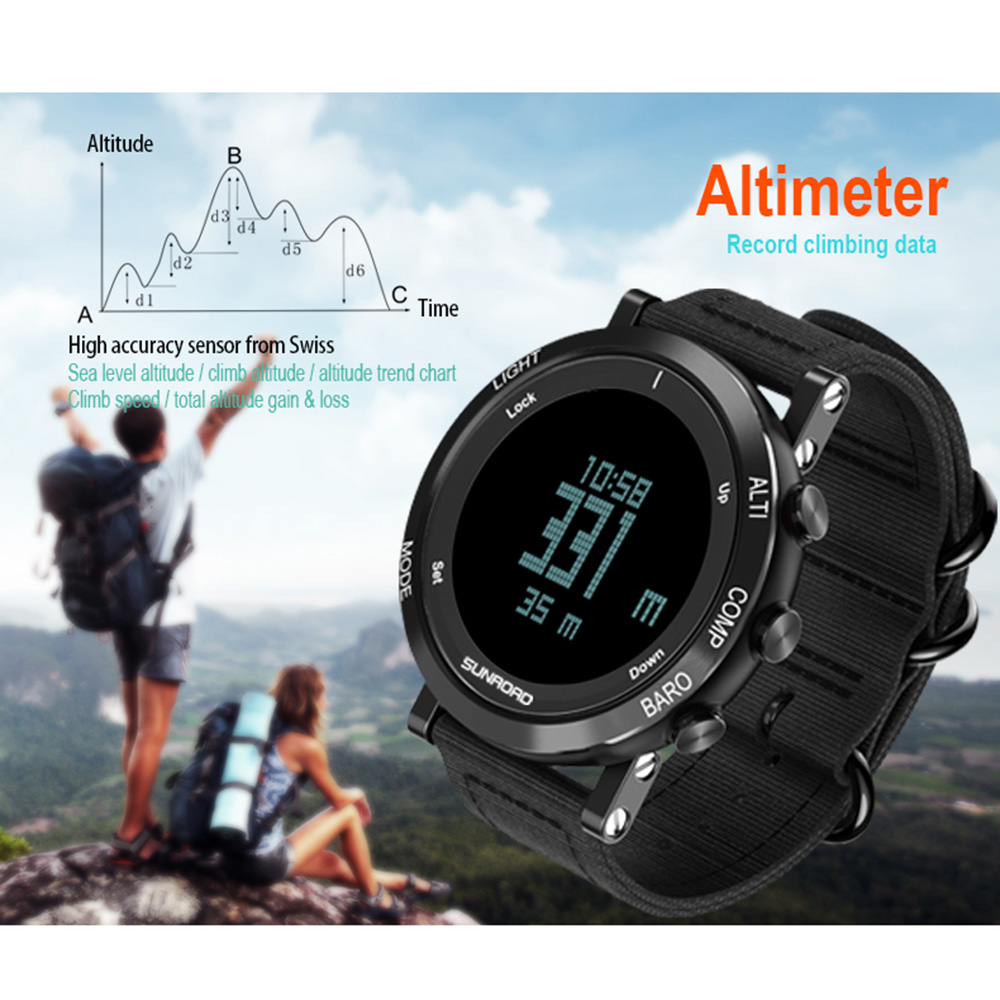 SUNROAD Outdoor Digital Sports Men Wome Watch 50mATM Water Proof Nylon Band Pedometer Altimeter Barometer Compass Wrist Watch sunroad 2018 new arrival outdoor men sports watch fr851 altimeter barometer compass pedometer sport men watch with nylon strap