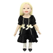 Golden Hair Smiling 18 Inch American Girl With Black Dress Handmade Reborn Baby Dolls Girl Toddlers Playmate(China)